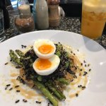 Black rice, grilled asparagus on miso with soft boiled egg $19. And Golden Sunrise carrot beet a
