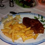 Lamb steak and freshly made chips