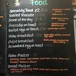 Check out the Hobo breakfast, bacon black pudding eggs on sourdough. Yummy!
