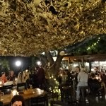 Under the trees and canopy in the evening.  Great patio