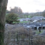 February, looking towards the walled gardens and cottages