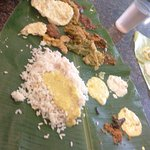 Traditional Kerala Lunch, starting with Parippu and Ghee