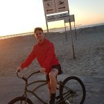 Ocean beach with hostel's bike