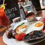 Soho Joe English Breakfast with a Michelada