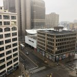 Desolate view of Detroit from our room.