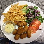 Scampi, chips and salad