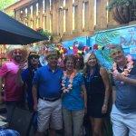 Tour group having fun at San Pedro's Cafe.