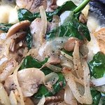 onions, mushrooms and spinach