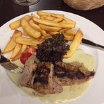 Pork with blue cheese sauce! Divine