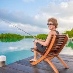 Fishing off the dock of the Overwater Cabanas