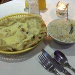 Cheese Nann and Pilau Rice