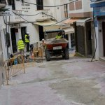 Drainage works on the steps up to Calle San Miguel.