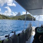 Steve's SCUBA Dive Boat near Anse Chastenet heading towards the Pitons