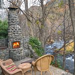Creekside Cabin outdoor patio, right next to the creek