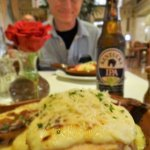Hot Brown and local beer