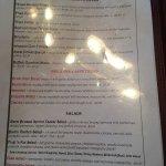 Menus, bar area, my garlic knots and my draft stout