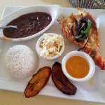 Lobster meal with beans, rice, plantains