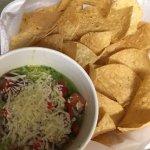 Seafood Dip - Blended w/ spinach, cilantro, queso fresco topped w/parmesan, pico de gallo & chip
