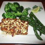 Amaretto Salmon ($19) chargrilled & topped with a sweet amaretto almond glaze