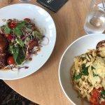 Lunch pasta special & pork belly