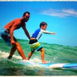 Tandem surfing!  Surf Lessons for all ages, even with the Surf Teacher