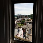 The view from the attic looking out to Conwy Castle