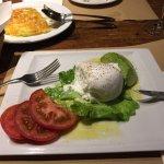 Tomato, Mozzarella and avocado with a great potato rosti in the background.