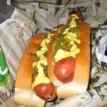 Double dogs with house mustard