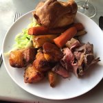 Roast beef and crispy potatoes - pre gravy pour!