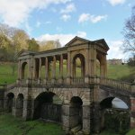 Palladian bridge over the lake, with the Palladian hall, now a private school, in the background