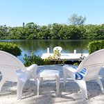 The property backends to a calm lagoon.  Perfect for fishing, kayaking, paddle-boarding