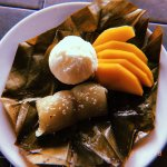 Special Thai dessert- Sweet sticky rice taro pudding with mango and vanilla ice cream.