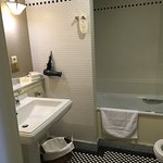 Spotlessly clean bathroom with lovely amenities.