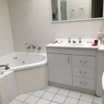 bathroom very small with washing machine crammed in and no ensuite