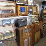 Antique radios on display inside community Heritage Radio station