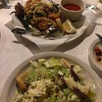 Fried shrimp, calamari, zucchini - Caesar salad