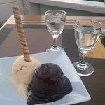 Warm Chocolate Cake (chocolate ganache, vanilla ice cream and Pirouline)