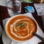 nice tomato soup , beautiful presentation