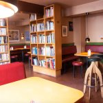 Small, cozy and great menu in our 'book café'.