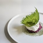 La Latteria's burrata, beetroot, shiso at the Roux at the Landau