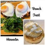 Eggs California and pancake with yogurt and honey