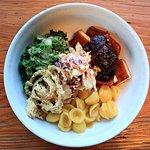BBQ Bowl: BBQ Tofu, vegan mac, mustard glazed kale, slaw and fried shallots
