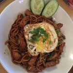 Mee Goreng with fried egg on top, Singapore rice noodles