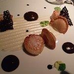 Saint Jacques Scallops (USA) seared, kohlrabi, dashi, squid ink, soy