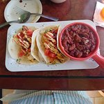 Grilled Fish tacos with red beans and rice