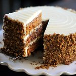 This is our famous Carrot Cake. This tall stack of goodness was developed by our owner, Jackie