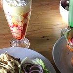 Banana milkshake and three cheese Burger