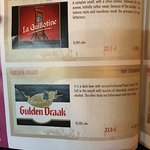 A page from the telephone directory sized beer menu!