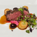 Filet Mignon, Beef Aioli, Butterball Potato, Pickled Cherry, Micro Arugula