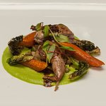 Roasted Carolina Quail, Turnips, Carrots, Pea Puree, Fried Brussel Sprout Leaves, Micro Swiss Ch